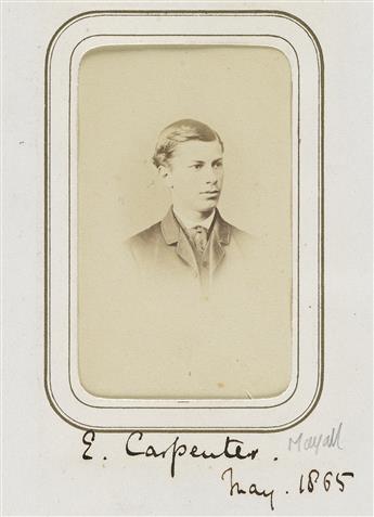 EDWARD CARPENTER (1844-1929)  Album of 112 cartes-de-visite portraits of Victorian students at Trinity Hall, Cambridge, including Edwar