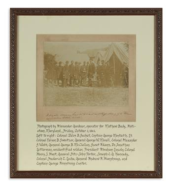 (CIVIL WAR--PHOTOGRAPHY.) [Gardner, Alexander; photographer.] A. Lincoln addressing Gen'l McClellan & Staff at Antietam.