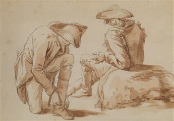 JEAN DUPLESSIS-BERTAUX (Paris 1747-1819 Paris) Two Soldiers on Campaign, Resting.