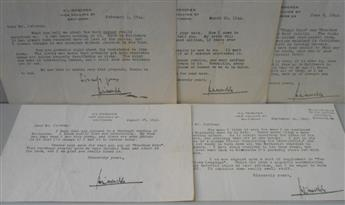 MENCKEN, H.L. Group of 5 Typed Letters Signed, each to Dear Mr. Jeltrup,