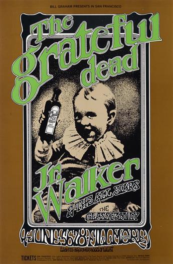 RANDY TUTEN (1946- ). THE GRATEFUL DEAD / JR. WALKER & THE ALL STARS. 1969. 21x14 inches, 53x35 cm. Tea Lautrec Litho., San Francisco.