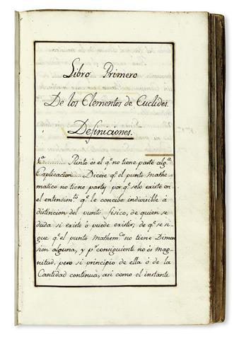 MANUSCRIPT.  Euclid.  Tratado 2º de la Geomet[ría] Especul[ativa] [spine title].  Illustrated manuscript in Spanish on paper.  18th ct.