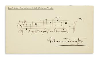 STRAUSS, JOHANN; JR. Autograph Musical Quotation Signed, 5 bars from the second act of his Ritter Pázmán,