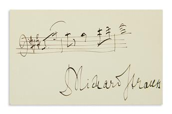 STRAUSS, RICHARD. Two items: Autograph Musical Quotation Signed, on a small card * Brief Typed Letter Signed.