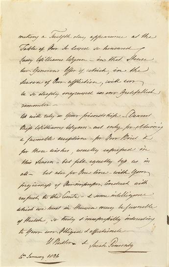 SARAH PONSONBY (1755-1831)  Autograph Letter Signed, El. Butler & Sarah Ponsonby,