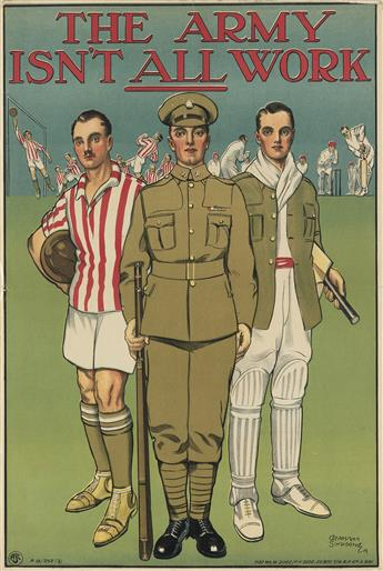 GRAHAM SIMMONS (DATES UNKNOWN). THE ARMY ISNT ALL WORK. 1919. 30x20 inches, 76x50 cm. G.P. Ltd., [London.]
