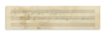 VAUGHAN WILLIAMS, RALPH. Autograph Musical Quotation Signed, R VaughnWilliams, 3 bars from Fantasia on a Theme by Thomas Tallis,