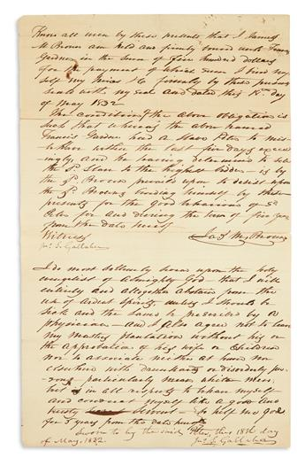(SLAVERY AND ABOLITION.) Agreement to sell an enslaved man named Peter, with an unusual oath of good behavior sworn by Peter.