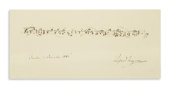 WAGNER, RICHARD. Autograph Musical Quotation dated and Signed, 8 bars from the prelude to the first act of Lohengrin,