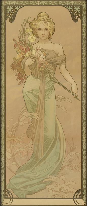 ALPHONSE MUCHA (1860-1939). [THE SEASONS / SPRING.] 1900. 27x11 inches, 70x29 cm.