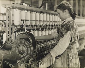 LEWIS W. HINE (1874-1940) Adolescent spinner, Carolina cotton mill.