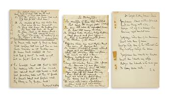 KIPLING, RUDYARD. Two Autograph Manuscripts Signed, each a fair copy of one of his poems: The Destroyers * To Capt. Robley Evans.