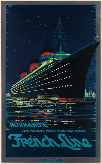 HUBERT HERKOMER (1881-?). NORMANDIE / THE WORLDS MOST PERFECT SHIP / FRENCH LINE. 1939. 40x24 inches, 101x63 cm. Hill, Siffken & Co.