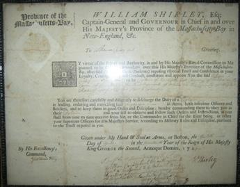 SHIRLEY, WILLIAM. Partly-printed Document Signed, WShirley, as Colonial Governor,