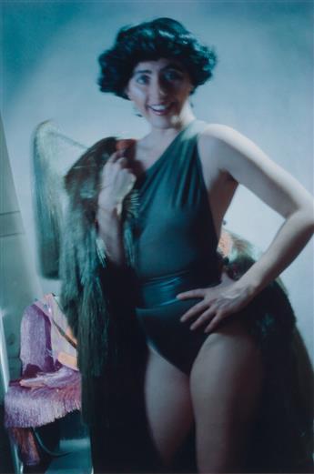 CINDY SHERMAN (1954 - ) Self-portrait in swimsuit.