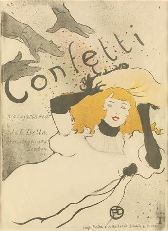 HENRI DE TOULOUSE-LAUTREC (1864-1901). CONFETTI. 1894. 21x16 inches, 54x42 cm. Bella & de Malherbe, London.