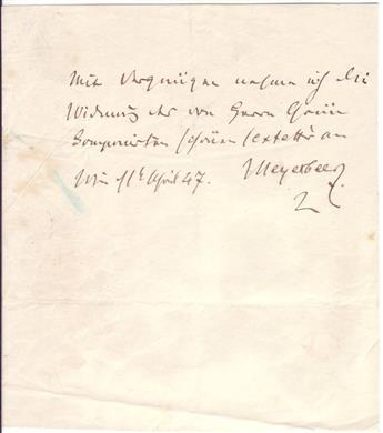 MEYERBEER, GIACOMO. Autograph Note Signed, Meyerbeer, to an unnamed recipient, in German, sending a 3-line greeting.