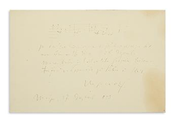 WOLF, HUGO. Autograph Musical Quotation Signed and Inscribed, to the Baron and Baroness von Lipperheide, in German,