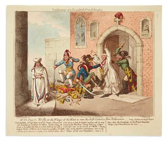 GILLRAY, JAMES. Consequences of a Successfull French Invasion. Nº.VI. Plate 1st.__We Fly on the Wings of the Wind