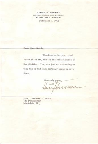TRUMAN, HARRY S. Two Typed Letters Signed, to Charlotte T. North,