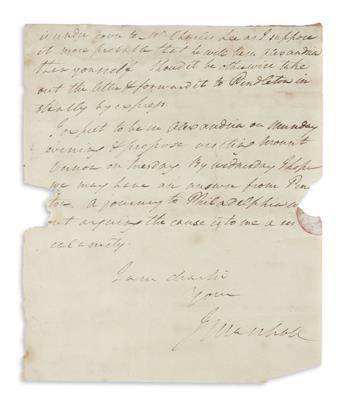 MARSHALL, JOHN. Autograph Letter Signed, JMarshall, to Henry Light-Horse Henry Lee (Dear Sir),