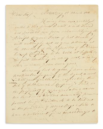 (SLAVERY AND ABOLITION.) Henderson, James. Letter to George Washingtons nephew regarding the purchase of slaves.