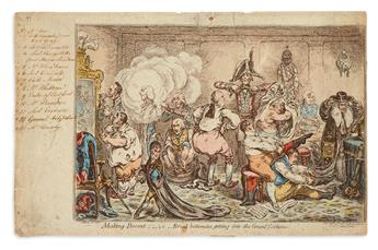 GILLRAY, JAMES. Making Decent;__i.e.__Broad-Bottomites Getting Into the Grand Costume.