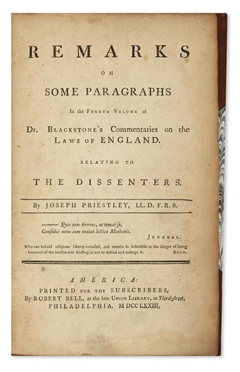 (LAW.) [Priestley, Joseph; et al.] An Interesting Appendix to Sir William Blackstone's Commentaries.