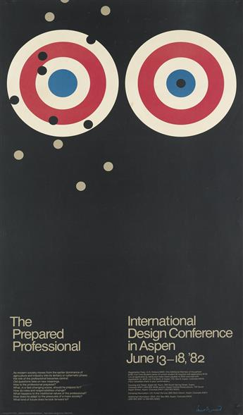 PAUL RAND (1914-1996). THE PREPARED PROFESSIONAL / INTERNATIONAL DESIGN CONFERENCE IN ASPEN. 1982. 38x21 inches, 96x53 cm. Sanders Prin