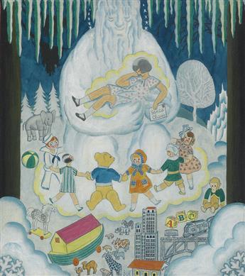 EDWARD (BUK) ULREICH. (ADVERTISING) Children around giant snowman.