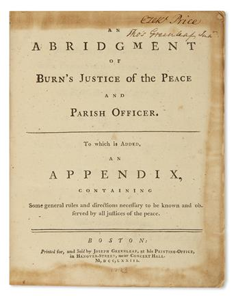 (LAW.) [Burn, Richard.] An Abridgement of Burn's Justice of the Peace and Parish Officer.