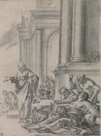 LAURENT DE LA HYRE (Paris 1606-1656 Paris) St. Peter Healing the Sick.