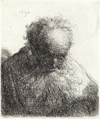 REMBRANDT VAN RIJN Bust of an Old Man with a Flowing Beard.