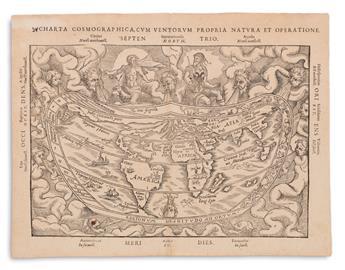 APIAN, PETER; after FRISIUS, GEMMA. Charta Cosmographica, cum Ventorum Propria Natura et Operatione.