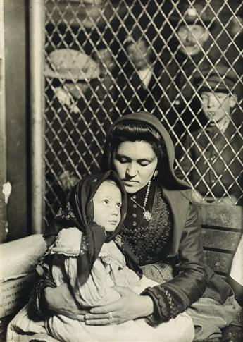 LEWIS W. HINE (1874-1940) Mother and child, Ellis Island [Italian Madonna].