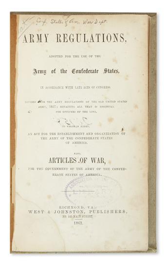 (CIVIL WAR--CONFEDERATE.) Army Regulations Adopted for the Use of the Army of the Confederate States.