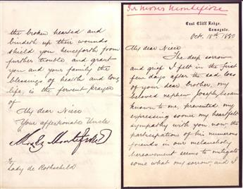 (BUSINESS.) MONTEFIORE, MOSES. Letter Signed, to Louisa de Rothschild (My dear Niece),