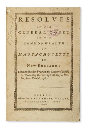 (LAW.) Resolves of the General Court of the Commonwealth of Massachusetts.