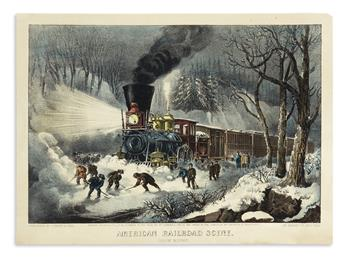CURRIER & IVES. American Railroad Scene. Snow Bound.