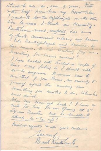 RATHBONE, BASIL. Autograph Letter Signed, to an unnamed recipient,