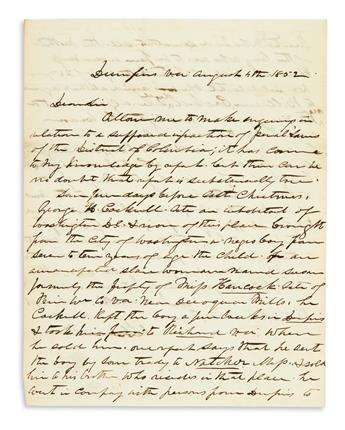 (SLAVERY AND ABOLITION.) Thomas, William. Letter on the abduction and sale of a free African American boy from the District of Columbia