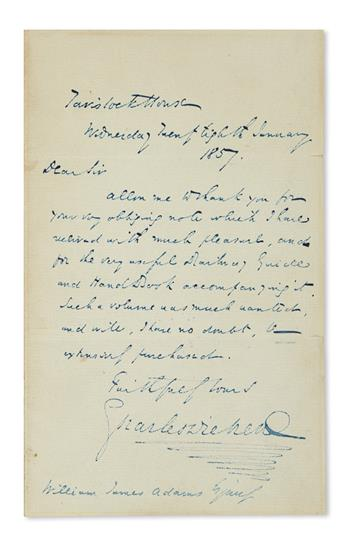 DICKENS, CHARLES. Autograph Letter Signed, to publisher William James Adams, thanking for a gift.