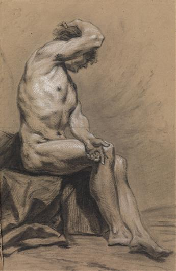 LOUIS DE BOULLOGNE II (Paris 1654-1733 Paris. A Seated Male Nude.