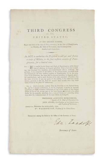 (WASHINGTON, GEORGE.) An Act to Authorize the President to Call Out and Station a Corps of Militia,