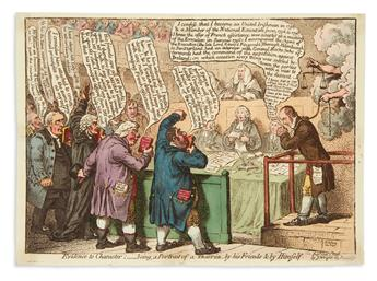 GILLRAY, JAMES. Evidence to Character;__Being, a Portrait of a Traitor, by his Friends & by Himself.