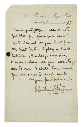 STEVENSON, ROBERT LOUIS. Autograph Letter Signed, to an unnamed recipient (lacking salutation),