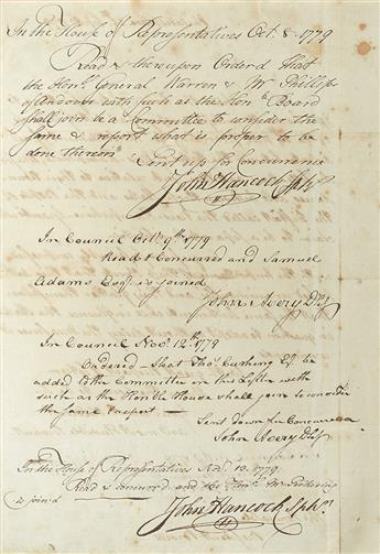 (VERMONT.) JAY, JOHN. Letter Signed, as President of the Continental Congress, to Massachusetts Council President Jeremiah Powell (The