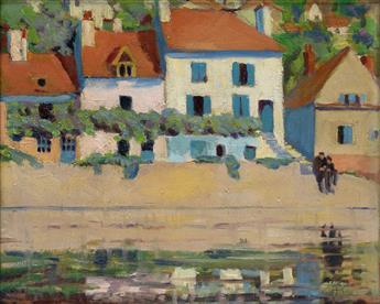 LAURA WHEELER WARING (1887 - 1948) Waterfront, Semur, France.