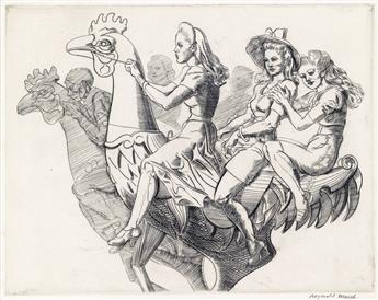 REGINALD MARSH Three Girls on a Chicken.