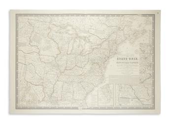 BRUÉ, ADRIEN HUBERT. Nouvelle Carte des Etats-Unis, des Haut et Bas-Canada.